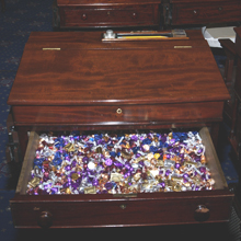 Candy Desk drawer in the Senate, courtesy of the Senate