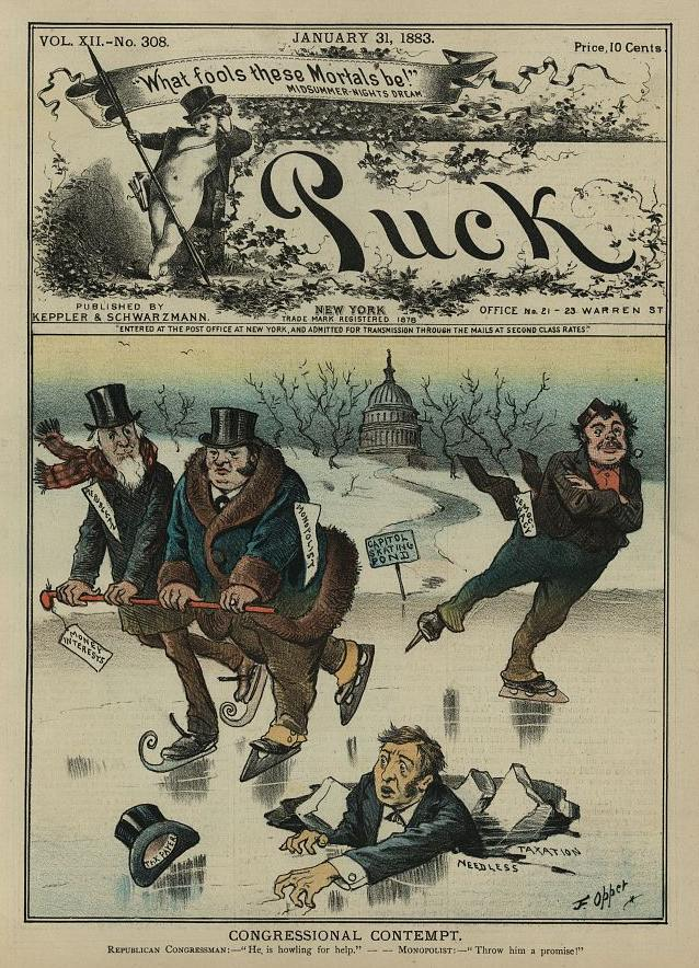 "Congressional contempt, by Frederick Burr Opper, in Puck, January 31, 1883, Caption: Republican Congressman ""He is howling for help."" Monopolist ""Throw him a promise!"" Source:Library of Congress 2012645443"