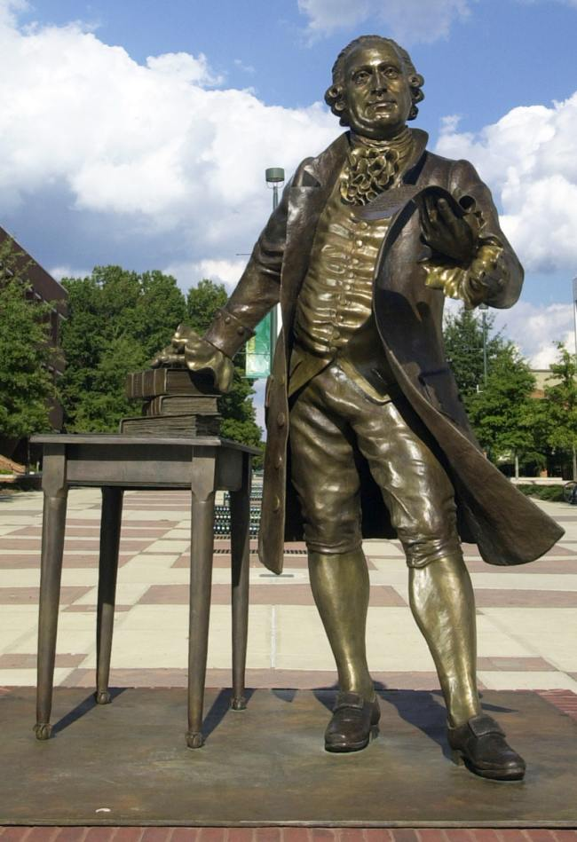 The George Mason Bronze, on the GMU campus in Fairfax, VA