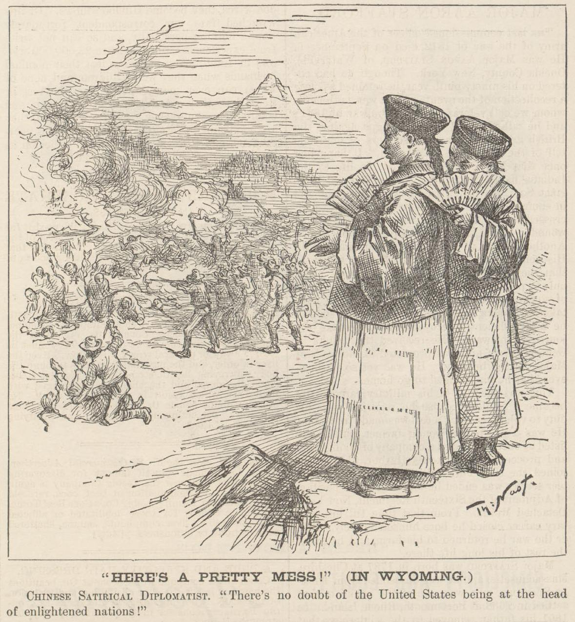 """'Here's A Pretty Mess!' (In Wyoming),"" by Thomas Nast, Harpers Weekly, September 19, 1885"