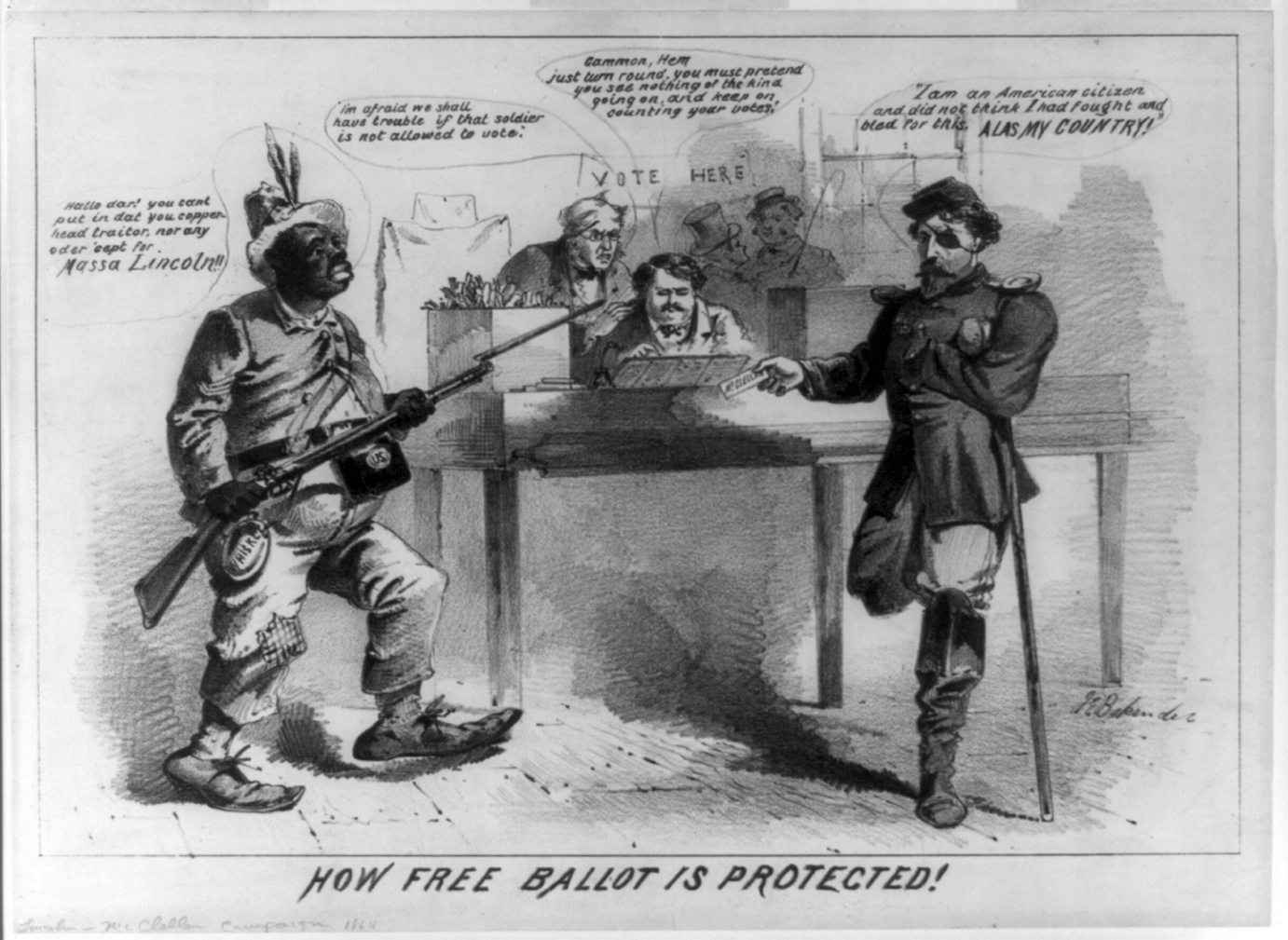 """How free ballot is protected!"" 1864. By Joseph E. Baker (ca. 1837-1914). Library of Congress."