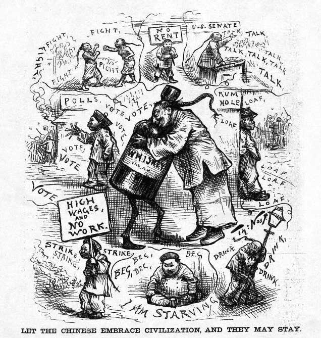 """Let The Chinese Embrace Civilization, And They May Stay"" By Thomas Nast. Harper's Weekly, March 18, 1882"