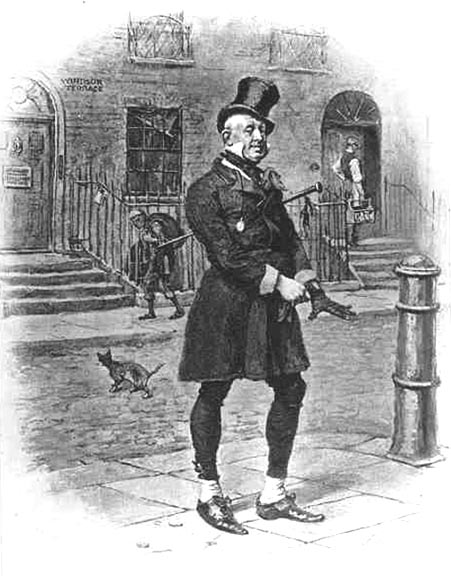 """Wilkins Micawber, character in Charles Dickens' """"David Copperfield"""". The illustrator is unidentified, but the picture appeared in the book's 1912 edition"""