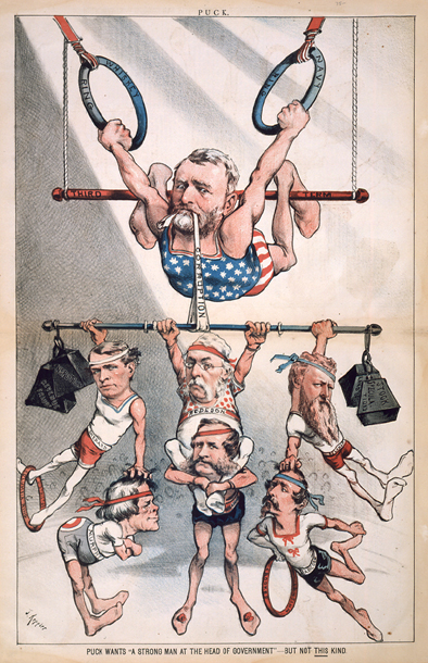 "Puck Wants ""A Strong Man at the Head of Government""—But Not This Kind. Puck, Feb. 4, 1880"