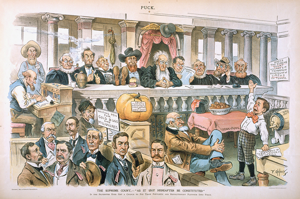 "The Supreme Court,—""As It May Hereafter Be Constituted"", in Puck, 1896"