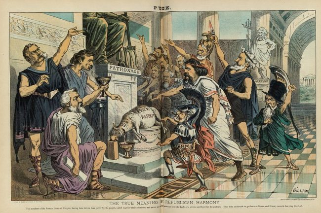 The true meaning of Republican harmony, Puck, April 11, 1883, Library of Congress 2012645464
