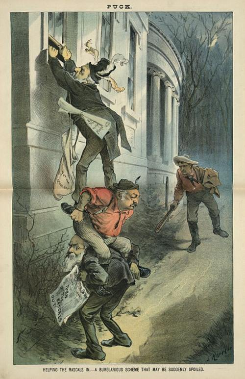 Helping the rascals in - a burglarious scheme that may be suddenly spoiled, by J. Keppler. Puck, October 22, 1884