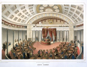 Senate Chamber, by Deroy, Lithograph, colored, 1848