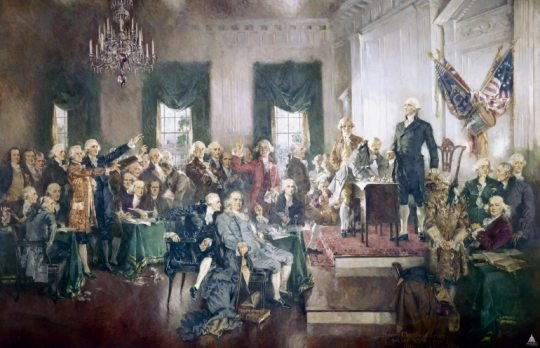 Signing of the Constitution, by Howard Chandler Christy Oil on canvas, 20' x 30' 1940 House wing, east stairway, from the Architect of the Capitol