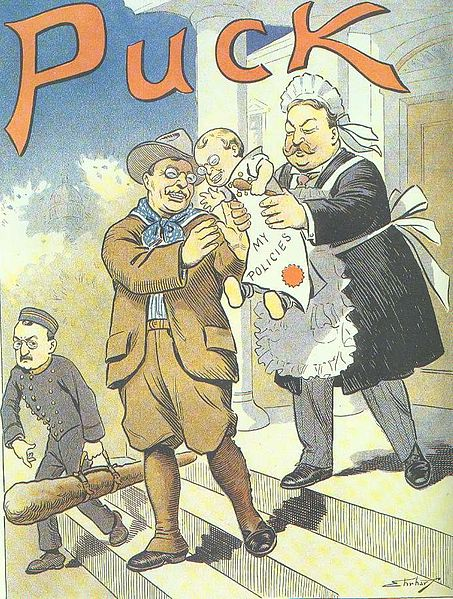 """Baby, Kiss Papa Good-By - My Policies"" Puck cartoon, Feb 24 1909 cartoon from Puck magazine"