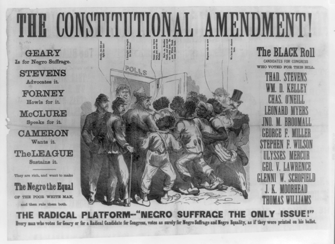"""The constitutional amendment!"" 1866. Library of Congress"