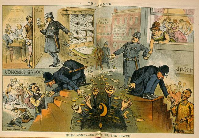 """Hush money--or money for the sewer,"" by Frank Beard, Judge V. 5, March 1, 1884, pages 8-9."