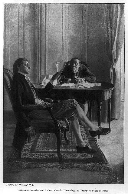 Benjamin Franklin and Richard Oswald discussing the Treaty of Peace Paris, by Howard Pyle in Scribner Magazine, 1898. Library of Congress