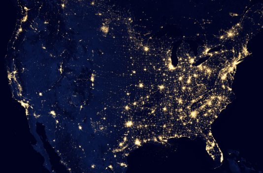 US at night, from NASA