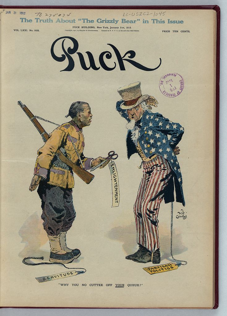 """Why you no cuttee off your queue?"" Caricature by Will Crawford (1869-1944). Puck, January 31, 1912"