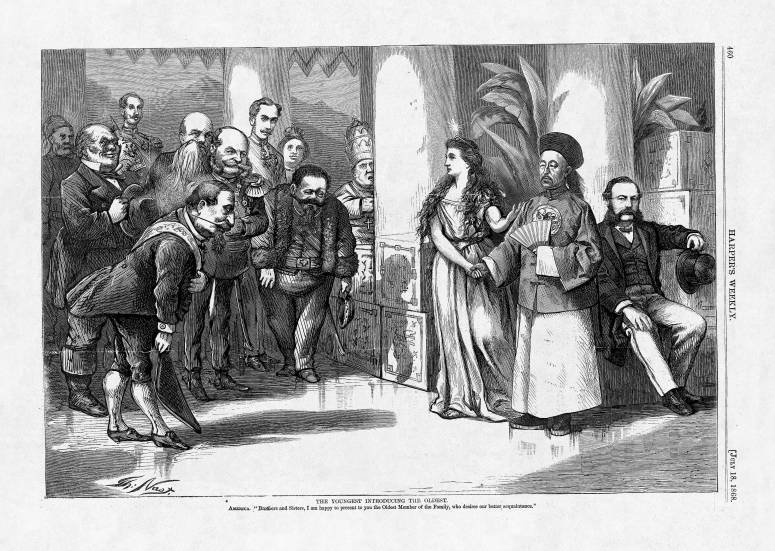 """The Youngest Introducing The Oldest"" By Thomas Nast. Harper's Weekly, July 18, 1868"