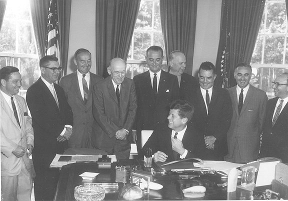 President Kennedy signing the 1961 Social Security Amendments into law, June 30, 1961, SSA