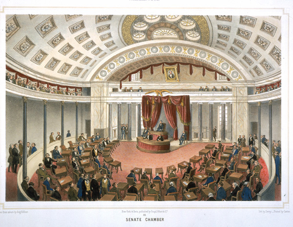 Senate Chamber, by Deroy after Augustus Theodore Frederick Adam Köllner Goupil, Vibert & Co. Lithograph, colored, 1848