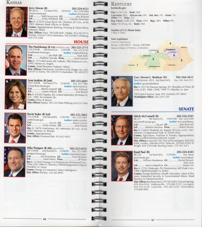 Sample pages from Standard, State by State, Version of Congressional Directory