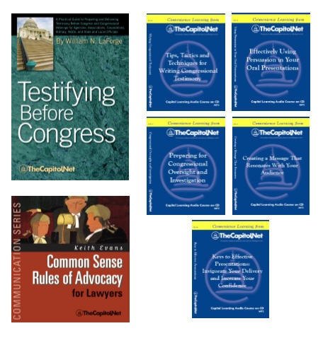 Preparing and Delivering Congressional Testimony and Oral Presentations Series, 2 Award-Winning Publications and 5 Capitol Learning Audio Courses