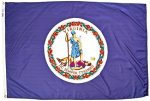 Virginia State Flag 4x6 ft. Nylon SolarGuard Nyl-Glo 100% Made in USA to Official State Design Specifications