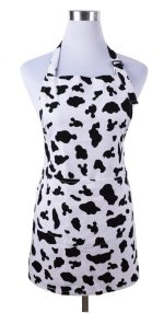 Cute Women Girls Cooking Kitchen Apron with Pockets Black White Cow print