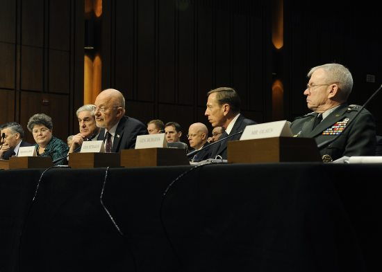 DNI James Clapper testifies before congress with other IC Leaders.