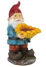 Design Toscano Sunflower Sammy Garden Gnome Birdfeeder Statue, 11 Inch, Polyresin, Full Color