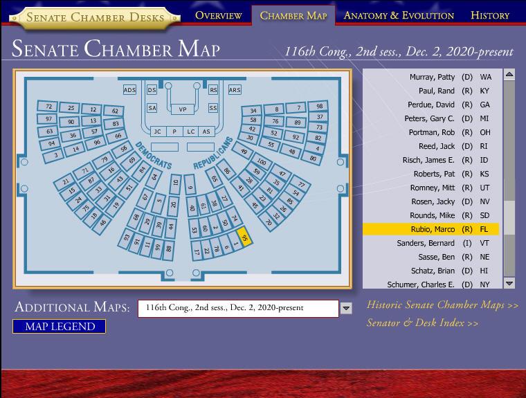 Senate Seating Map 2020