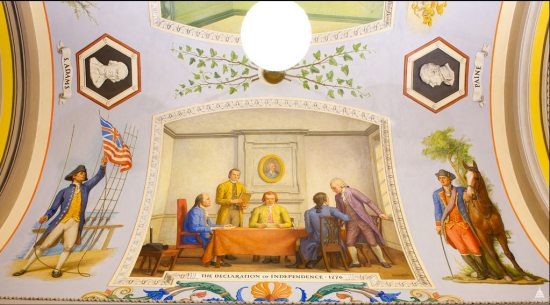 Drafting The Declaration of Independence, 1776, by Allyn Cox in The Great Experiment Hall, from the Architect of the Capitol